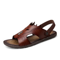 Sandalias al aire libre de cuero para hombre Nuevo 2017 zapatos al aire libre del verano Sandalias del deporte Sandalias suaves del cuero de los deslizadores de la playa del cuero genuino de los hombres respirable