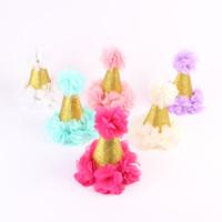 Cute Newborn Mini Feutre pétales en mousseline de soie Couronne Fleurs Bandeaux Pour Baby Girls 1st Birthday Party Accessoires cheveux A0184