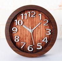 Wholesale 3D metal silver metal alarm clock creative wood clock retro home decoration clock