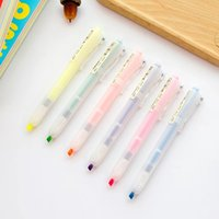 Wholesale X Simple Clear Press Clip Oblique Highlighter Marker Water Colored Drawing Pen Sationery Liquid Chalk School Office Supply