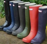 Wholesale Women Rainshoes Rain Boot Wellies Rainboots Rain shoes Waterproof Ms glossy glossy Matte Wellington Knee Boots Rubber Galoshes