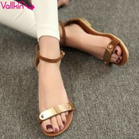 Wholesale VALLKIN Fashion Genuine Leather Women s Sandals Shoes Summer Flats Sandals Peep Toe Flower Wedding Shoes Size