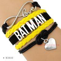 achat en gros de coeur bracelet en or de l'infini-(10 Pièces / Lot) Infinity Love Batman Bracelet Coeur à coeur Charm Black Gold Cire Suede Cuir Bracelet Personnalisé tous les thèmes