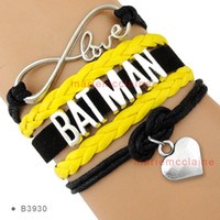 al por mayor pulsera de oro del corazón del infinito-(10 Piezas / Lote) Infinity Love Batman Brazalete Corazón a Corazón Encanto Negro Oro Cera Suede Pulsera de cuero Personalizar cualquier tema