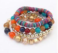 Wholesale High Quality Rows Bracelets Women Exotic Handmade Elastic Bracelet Colors Red Blue Black Beige Mix Beads Bracelets