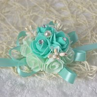Wholesale 5pcs high quality handmade tiffany blue wedding wrist flower purple bride bridesmaids wrist corsages bridal wrist bouquets