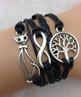 Wholesale Black dazzle cruel infinity bracelet the tree of life wishing tree bracelet silver palm civet bracelet