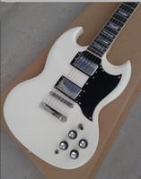 Fábrica de encargo de la tienda de alta calidad Mahagany Body Cream Blanco SG guitarra eléctrica estándar 2 pastillas Rosewood Fingerboard