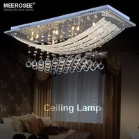 Wholesale Hot Sale Crystal Ceiling Chandelier Lighting Square Chrome Metal Hanging Crystal Lamp For Living Room Luminaria Teto Pendente Lighting
