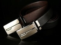 Wholesale Europe and the United States high grade high grade leather new litchi grain man type automatic buckle belts