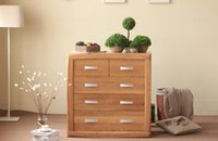 Wholesale All solid oak cabinet drawer chest Nordic modern minimalist style bedroom cabinet wood color bucket width