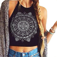 Wholesale New Arrival Fashion Girl Halter Neck Tied Crop Mandala Black White Vest T Shirt Top Tee Short Length Black White Colors