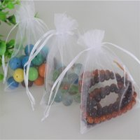 Wholesale cm White Jewelry Organza Pouches Favor Wedding Candy Bags Drawstring Christmas Organza Gift Bags