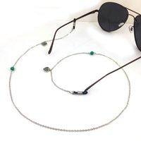 Wholesale GL195 pc pretty turquoise stone silver chain girls eywear jewellery cheap heart eyeglass lanyards