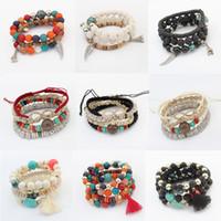 acrylic heart charms - charm bracelets jewelry fashion women bohemia ethnic high quality colorful beads feathers infinity tassel bangles bracelets BR462
