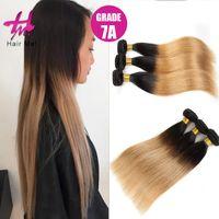 3Pcs / Lot Brown pelo de Ombre de las tramas del pelo recto brasileño de las extensiones Ombre del pelo 100%