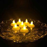 Eau LED Capteur Flameless Flottant électronique bougie de mariage Lumière pour le bain SPA Pray étanche Tealight Jaune