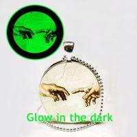 art michelangelo - New Fashion The Creation of Adam Glowing Necklace Michelangelo Art Pendant Glow in The Dark Jewelry Necklace
