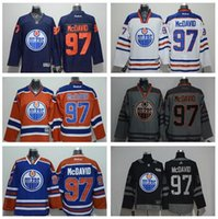 Wholesale 2017 Edmonton Oilers Connor McDavid With C Patch LUCIC Hall NUGENT HOPKINS Orange Blue White Hockey Stitched Jersey