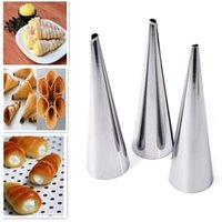 Wholesale 5Sets x Stainless Steel Spiral Baked Croissants DIY Horn Tube Baking Cake Mold For Cream Horns Chocolate Cones