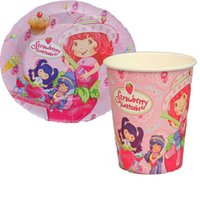 Wholesale strawberry shortcake Paper Plates and Cups Party supplies birthday party decoration disposable tableware
