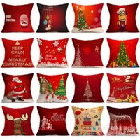 Wholesale Linen Square Decorative Throw Pillow Case Vintage Cushion Cover home Santa Claus Christmas Tree Gifts And Snowman Printing cm
