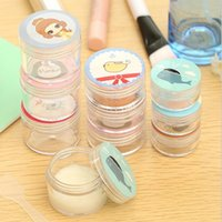 bead storage with free shipping - 2 in1 Portable Cartoon Empty Jar Pot Box Makeup Eyeshadow Cosmetic Bead Storage Container Bottle With Mask stick F2017271