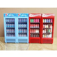 Wholesale 1 Miniature Dollhouse Toy Refrigerator without drinks for Supermarket Store Play Doll House Appliance Furniture Accessories