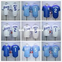 Wholesale 5 George Brett Jarrod Dyson Throwback baseball Jerseys blue gray white