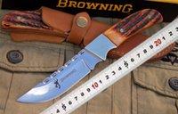 OEM authentique Browning Browing cuivre maquillage poignée os 9CR18 couteau miroir sculpté (cuir de vache ordinaire) outil de camping de randonnée en plein air