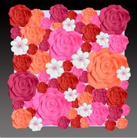 big paper rose - 56pcs different sizes Combination Foam Paper big rose flowers Mix Flowers for Wedding background decorations Wedding Backrops