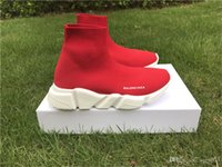 Wholesale Balenciagas Speed Trainer Full Red Knit high socks sports shoes new Speed Trainer All Red Sneakers Women Size Red White With Box