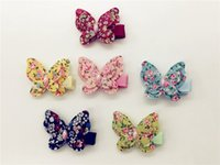Wholesale Kid Butterfly Barrettes - Wholesale 30pcs Fashion Cute Butterfly in Floral Pattern with Bead Baby Girls Hairpins Animal Barrettes Kids Hair Accessories