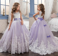 Wholesale 2017 Purple Tulle Sleeveless Lace Flower Girl Dresses With Bow Ball Gown First Communion Dress for Girls Little Girls Pageant Gowns