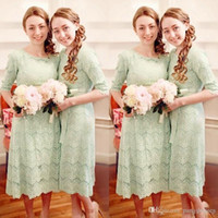 age water - age Lace Half Sleeve Tea Length Country Bridesmaid Dresses Vintage Cheap Sash Back Zipper Maid Of Honor Gowns Custom Made