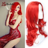 Wholesale Red Custome Anime Cosplay Wigs inch Long Wavy Style Feeling Cool Synthetic Wigs Big Cap for Women Makeup Party