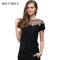 bee tee shirts - Summer New Mesh Top Bee Embroidery Lace Tee Shirt Women Net Diamond T Shirt Cotton Short Sleeve Stitching Top Femme
