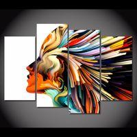 Precio de Línea de hd-4 PC / marco enmarcado HD imprimieron líneas de colores figura de la mujer cuadro de la lona de la lona de la impresión del arte de la pared de la lona del arte de la lona moderna de la lona