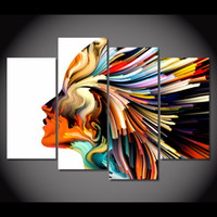 Wholesale 4 Set Framed HD Printed Colors Lines Woman Figure Picture Wall Art Canvas Print Decor Poster Canvas Modern Oil Painting