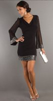 bell sleeve mini dress - Millyn New fashion sexy sequin dress black deep v neck three quarter sleeve above knee hot sale party dresses plus size S XL