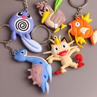 Wholesale 100PCS Fashion key pendant Pikachu elves ball PVC soft rubber key chain Children Key Chain Gifts TA73