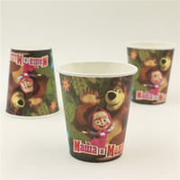 bamboo cups disposable - new style masha and bear cartoon disposable paper cups glasses drinking birthday party decoration supplies favors
