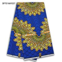 Wholesale High quality super wax fabric african cotton real dutch prints wax fabrics for nigerian garments yards in blue yellow SP701AAY033