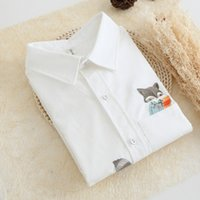 Wholesale the summer of the new style fashion simple long sleeve female shirt all match fox embroidery and flax render