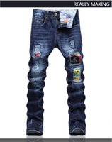 al por mayor mosaico diseña parches-Los pantalones apretados de los pantalones de los pantalones del mendigo de los pantalones vaqueros de los pantalones vaqueros de los remiendos de los remiendos de los pantalones apretados de los nuevos del diseño original del diseño