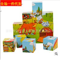 Wholesale hot sale cartoon pattern Wooden D stereo puzzle wooden children six face painting puzzle toys baby early education toys