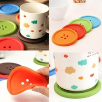 Wholesale Set Silicone Coffee Placemat Button Coaster Cup Mug Glass Holder Pad Mat Cushion