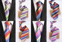 Corbatas de seda a estrenar para los hombres que casan el lazo los 8cm Corbatas delgadas para hombre Corbata del negocio de los hombres Corbata a rayas clásica verde rosada 4 Modelo A022