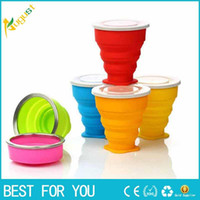 Wholesale New hot ML Travel Portable folding cup mini folding silicone telescopic cup with lid outdoor travel wash water cup multi color