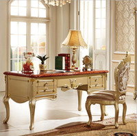 Wholesale French Baroque Style Luxury Executive Office desk European Classic Wood carving Writing table Retro Home Office Furniture pfy10080